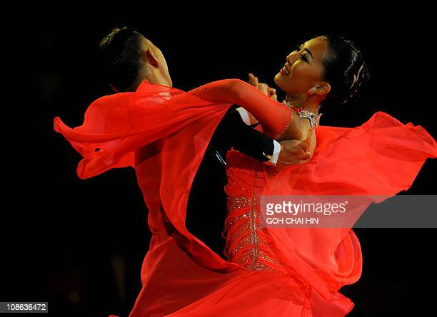 Song Yina and Nam Sangwung of South Korea compete in the dance sport standard slow foxtrot event at the 16th Asian Games in Guangzhou on November 13...