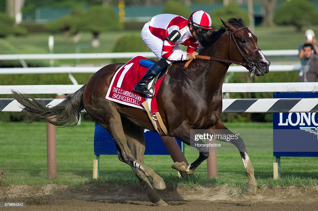 Songbird, with Mike Smith up, wins the Grade I Coaching Club American Oaks on July 24, 2016 at Saratoga Race Course in Saratoga Springs, New York.