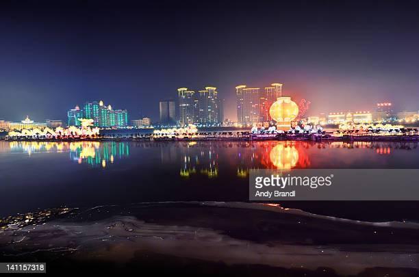 Songhua River with illuminated Jilin City