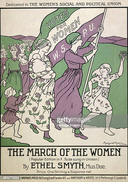 Songsheet of 'The March of the Women' 1911 Songsheet in the suffragette colours of purple green and white showing women and children marching with...