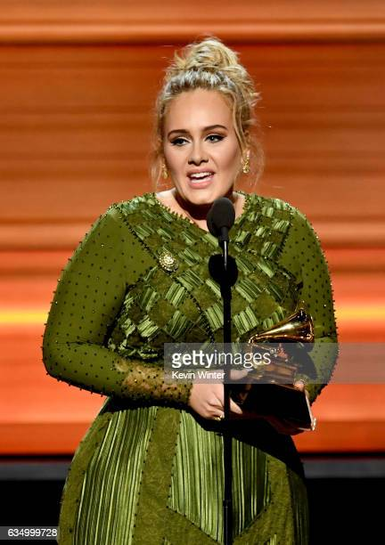 Songwriter Adele Adkins accepts the Song Of The Year award for 'Hello' onstage during The 59th GRAMMY Awards at STAPLES Center on February 12 2017 in...