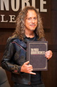 Songwriter and musician Kirk Hammett attends his book signing for 'Too Much Horror Business' at Barnes Noble bookstore at The Grove on October 25...