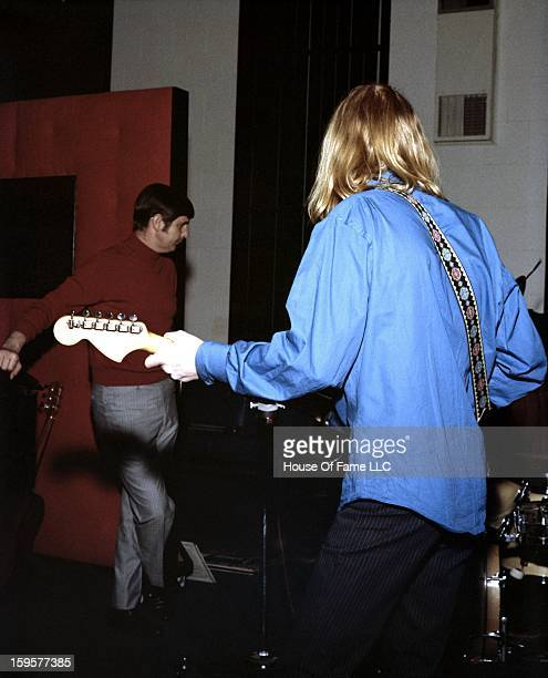 Songwriter and producer Rick Hall and session guitarist Duane Allman rehearse at FAME Studios in 1968 in Muscle Shoals Alabama