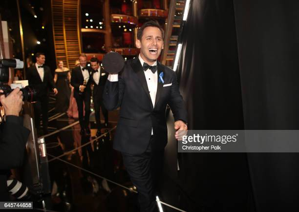 Songwriter Benj Pasek winners of the Best Original Song award for 'City of Stars' backstage during the 89th Annual Academy Awards at Hollywood...
