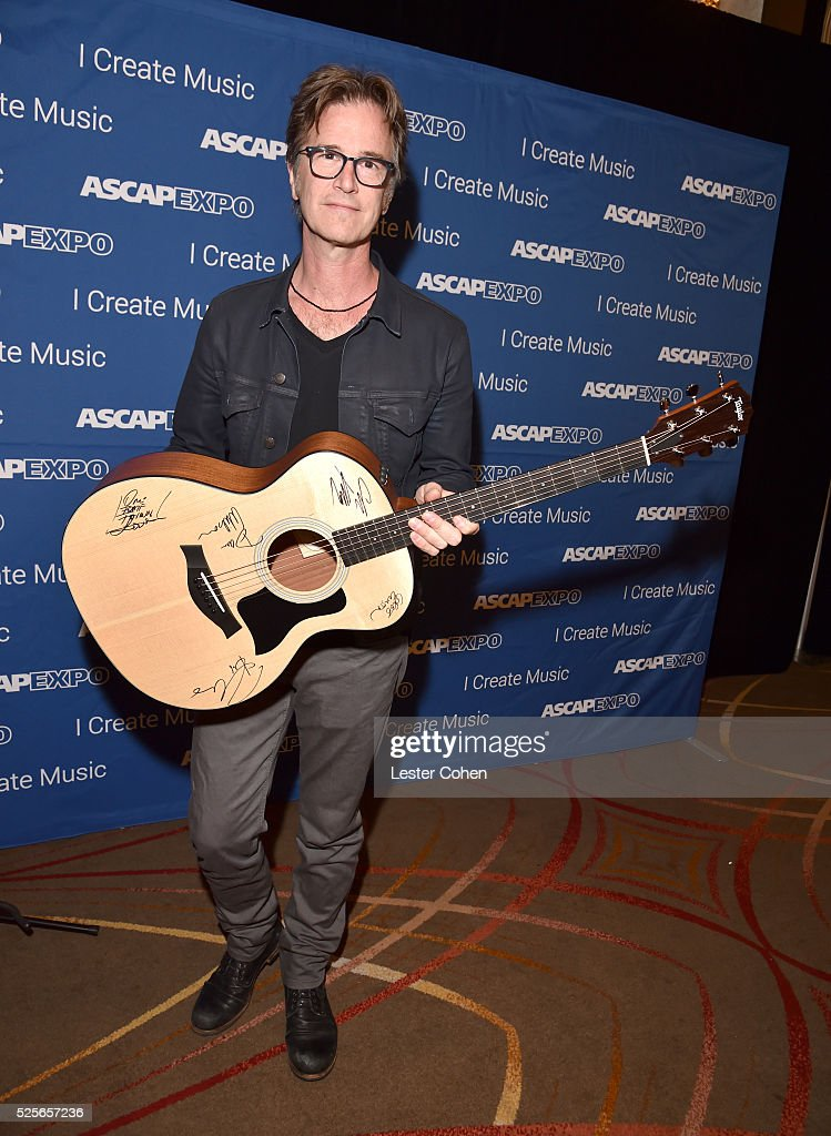 Songwriter Dan Wilson poses with the #StandWithSongwriters guitar during the 2016 ASCAP 'I Create Music' EXPO on April 28, 2016 in Los Angeles, California.