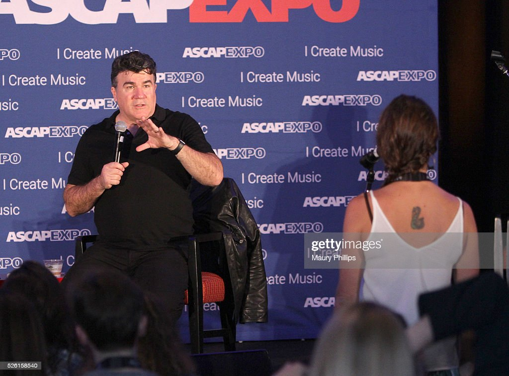 Songwriter Darrell Brown (L) speaks onstage during a song feedback session, part of the 2016 ASCAP 'I Create Music' EXPO on April 29, 2016 in Los Angeles, California.
