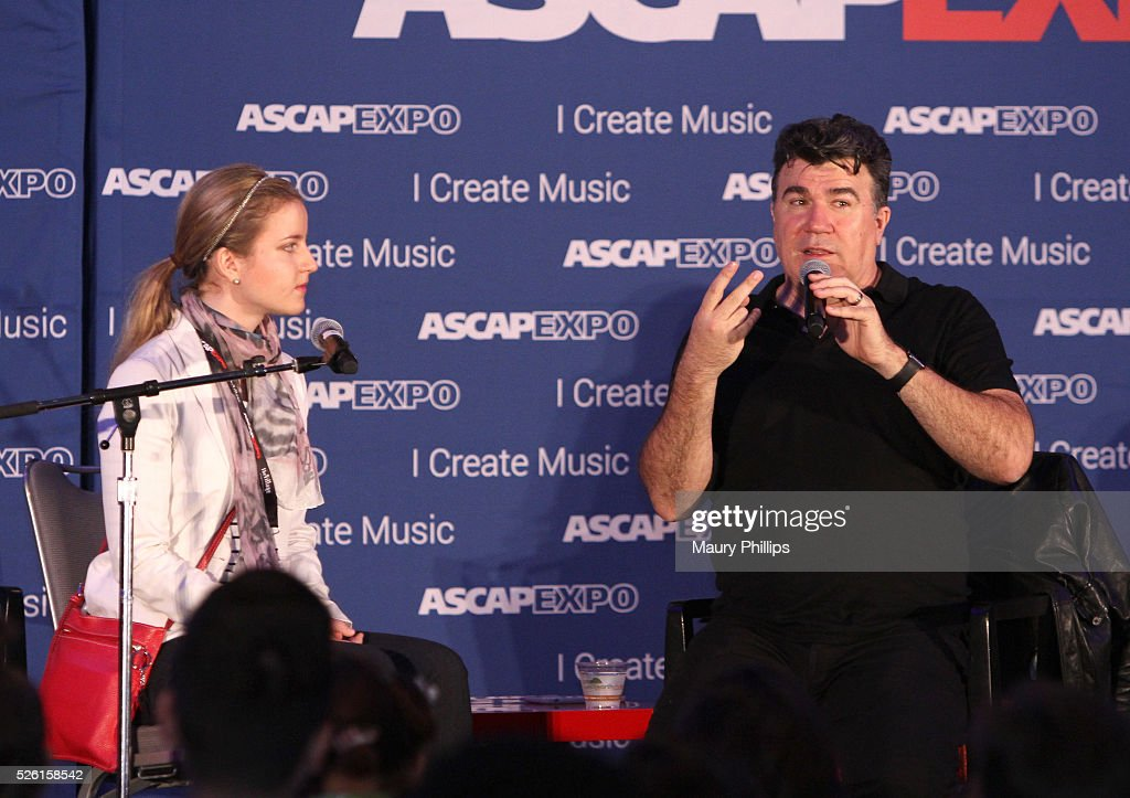 Songwriter Darrell Brown (R) speaks onstage during a song feedback session, part of the 2016 ASCAP 'I Create Music' EXPO on April 29, 2016 in Los Angeles, California.