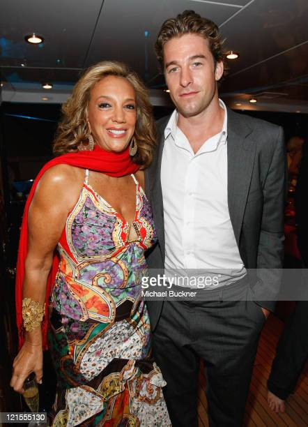 Songwriter Denise Rich and actor Scott Speedman attend the Denise Rich Yacht Party at the MY Lady Joy Yacht during the 61st International Cannes Film...
