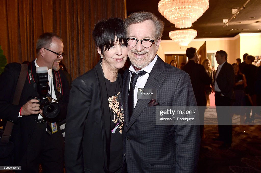 Songwriter Diane Warren (L) and director/producer Steven Spielberg attend the 88th Annual Academy Awards nominee luncheon on February 8, 2016 in Beverly Hills, California.