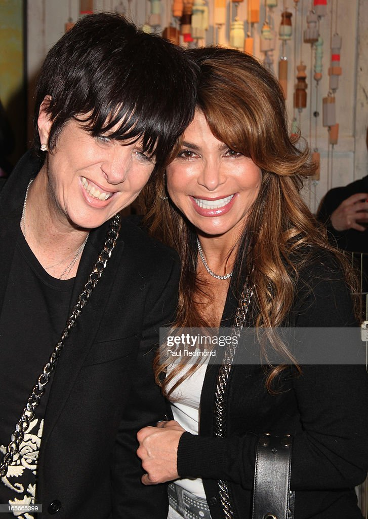 Songwriter Diane Warren and singer Paula Abdul attend 'A Letter To My Dog: Notes To Our Best Friends' cocktail party and book signing at Anthropologie on April 4, 2013 in Beverly Hills, California.