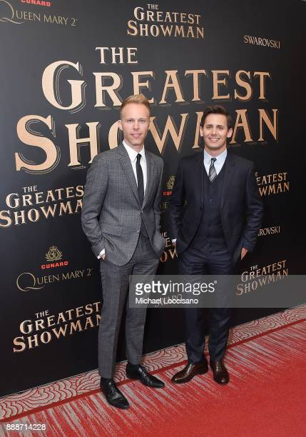 Songwriter Duo Justin Paul and Benj Pasek of Pasek and Paul attends the 'The Greatest Showman' World Premiere aboard the Queen Mary 2 at the Brooklyn...
