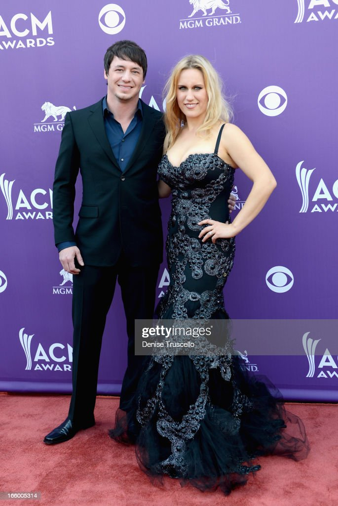 Songwriter Jon Stone (L) arrives at the 48th Annual Academy of Country Music Awards at the MGM Grand Garden Arena on April 7, 2013 in Las Vegas, Nevada.