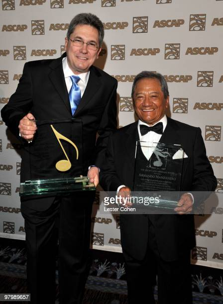 Songwriter Jorge Luis Piloto and composer Armando Manzanero arrive at 18th Annual ASCAP Latin Music Awards at The Beverly Hilton hotel on March 23...