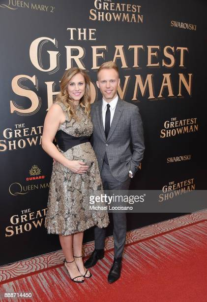 Songwriter Justin Paul and wife Asher Fogle Paul attend the 'The Greatest Showman' World Premiere aboard the Queen Mary 2 at the Brooklyn Cruise...