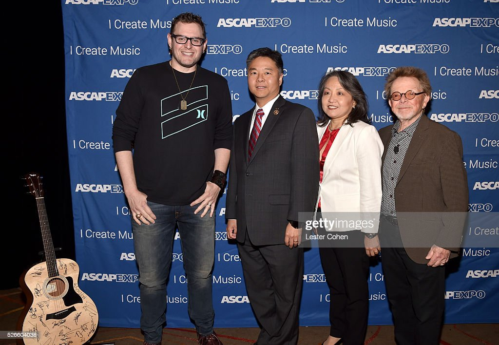 Songwriter Kevin Kadish, Congressman Ted Lieu, ASCAP EVP & General Counsel, Business and Legal Affairs, Clara Kim and ASCAP President/Chairman Paul Willaims pose with a #StandWithSongwriters guitar, which will be presented in May to members of Congress to urge them to support reform of outdated music licensing laws, duringa the 2016 ASCAP 'I Create Music' EXPO on April 30, 2016 in Los Angeles, California.