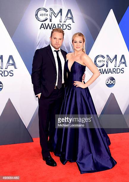 Songwriter Kyle Jacobs and musical artist Kellie Pickler attend the 49th annual CMA Awards at the Bridgestone Arena on November 4 2015 in Nashville...