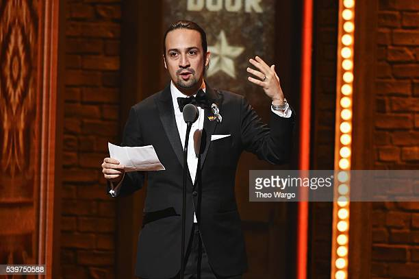 Songwriter LinManuel Miranda accepts the award for Best Book of A Musical for his work in Hamilton onstage during the 70th Annual Tony Awards at The...