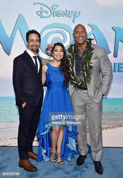 Songwriter LinManuel Miranda actors Auli'i Cravalho and Dwayne Johnson attend The World Premiere of Disney's 'MOANA' at the El Capitan Theatre on...