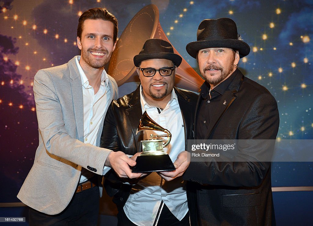 songwriter Micah Massey, songwriter Israel Houghton, and NARAS Board Chairman George Flanigen pose during the 55th Annual GRAMMY Awards Pre-Telecast at Nokia Theatre L.A. Live on February 10, 2013 in Los Angeles, California.