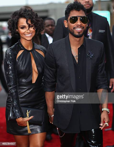 Songwriter Miguel Jontel Pimentel and model Nazanin Mandi attend the 56th GRAMMY Awards at Staples Center on January 26 2014 in Los Angeles California