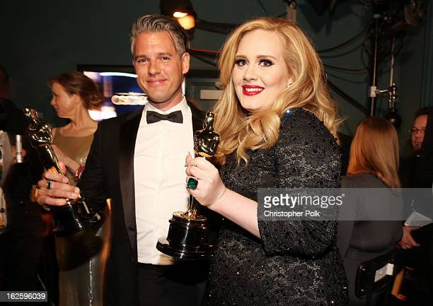 Songwriter Paul Epworth and singer Adele winners of the Best Original Song award for 'Skyfall' backstage during the Oscars held at the Dolby Theatre...