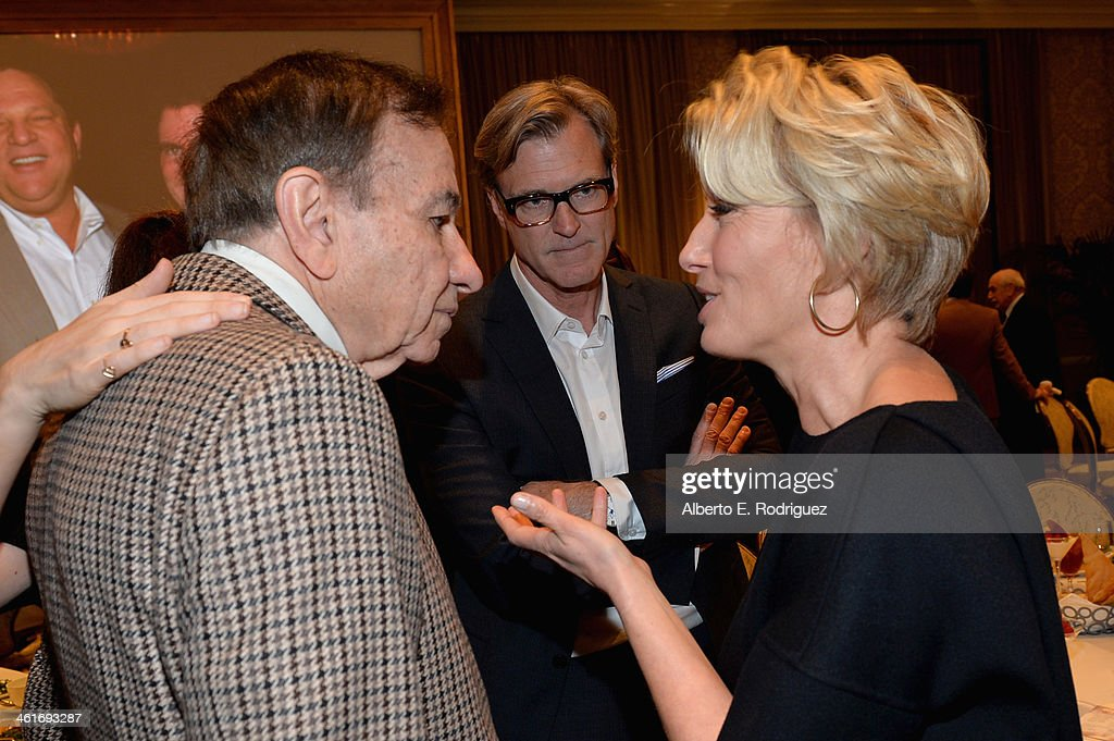Songwriter Richard M. Sherman, director John Lee Hancock, and actress Emma Thompson attend the 14th annual AFI Awards Luncheon at the Four Seasons Hotel Beverly Hills on January 10, 2014 in Beverly Hills, California.