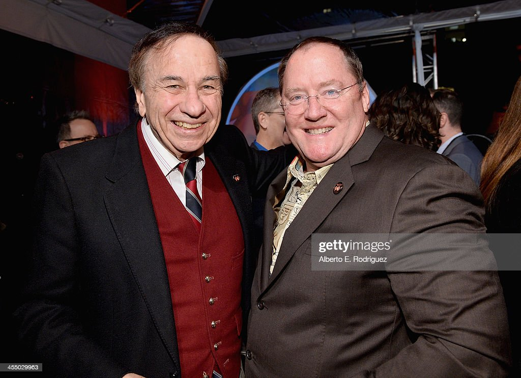 Songwriter Richard Sherman (L) and executive director <a gi-track='captionPersonalityLinkClicked' href=/galleries/search?phrase=John+Lasseter&family=editorial&specificpeople=224003 ng-click='$event.stopPropagation()'>John Lasseter</a> attend the 90 Years of Disney Animation celebration at Walt Disney Studios on December 10, 2013 in Burbank, California.