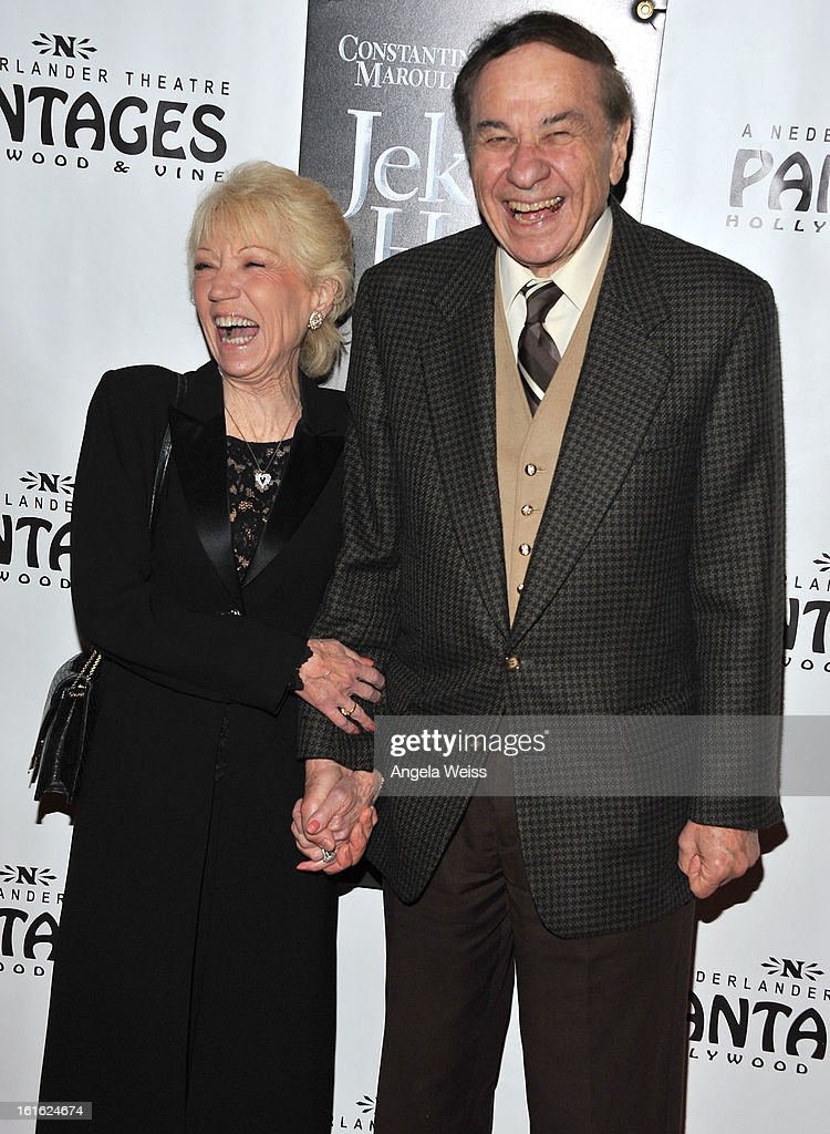 Songwriter Richard Sherman (R) and his wife Elizabeth Sherman arrive at the opening night of 'Jekyll & Hyde' held at the Pantages Theatre on February 12, 2013 in Hollywood, California.