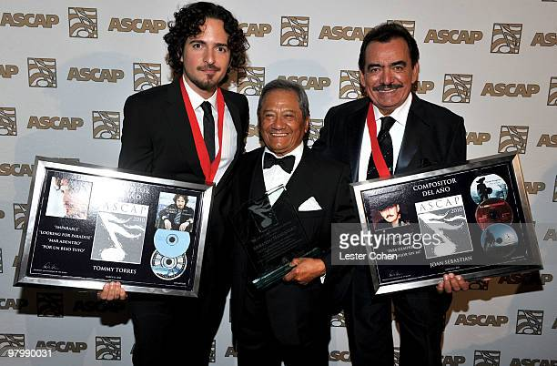 Songwriter Tommy Torres composer Armando Manzanero and songwriter Joan Sebastian arrive at 18th Annual ASCAP Latin Music Awards at The Beverly Hilton...