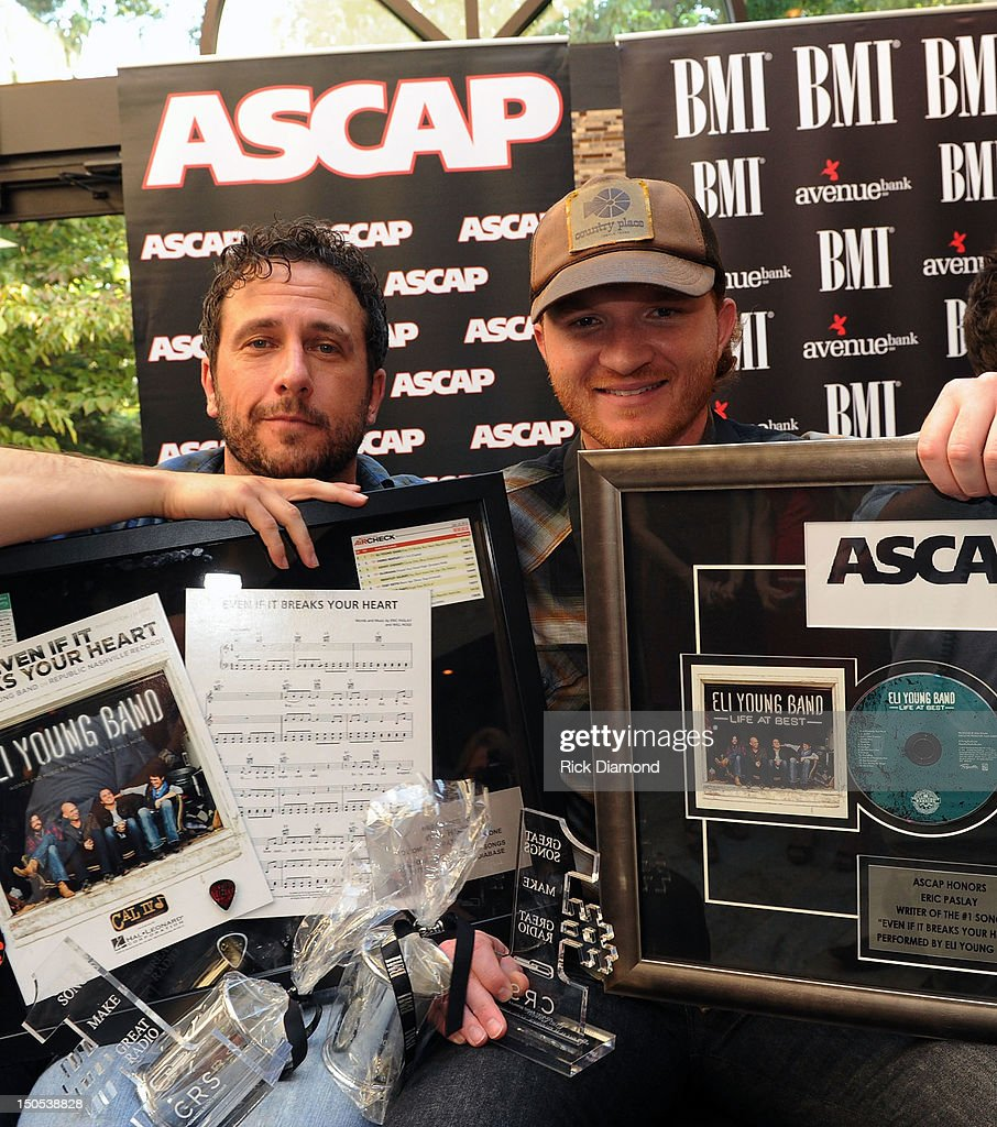 Songwriter Will Hoge (BMI) and Songwriter Eric Paslay (ASCAP) pictured are honored for there #1 hit 'Even if it breaks your heart' recorded by Republic Nashville recording artists Eli Young Band at the CMA offices on August 20, 2012 in Nashville, Tennessee.