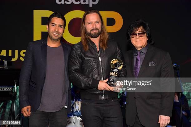 Songwriter/record producer Savan Kotecha honoree Max Martin and ASCAP Executive Vice President Membership John Titta pose onstage during the 2016...