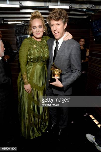 Songwriters Adele Adkins and Greg Kurstin winners of the Song Of The Year award for 'Hello' attend The 59th GRAMMY Awards at STAPLES Center on...