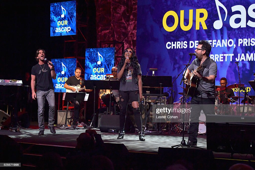 Songwriters Brett James, Priscilla Renea and Chris DeStefano speak onstage during the ASCAP Annual Membership Meeting and ASCAP EXPO Kickoff, part of the 2016 ASCAP 'I Create Music' EXPO on April 28, 2016 in Los Angeles, California.