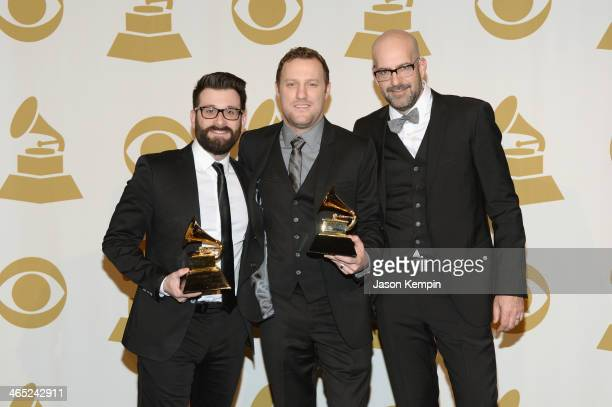 Songwriters David Garcia Ben Glover and Chris Stevens pose in the press room during th 56th GRAMMY Awards at Staples Center on January 26 2014 in Los...