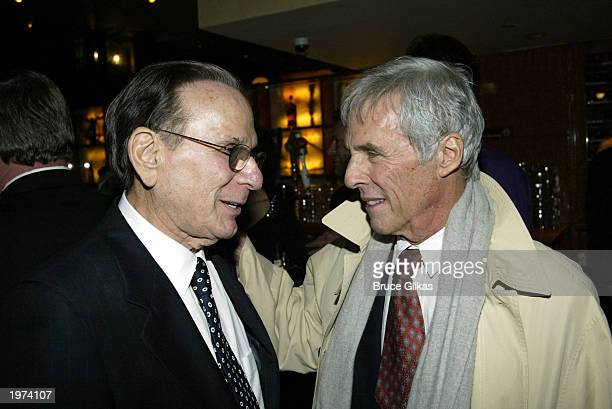Songwriters Hal David and Burt Bacharach celebrate the Opening Night Party for 'The Look of Love The Songs of Burt Bacharach and Hal David' at the...