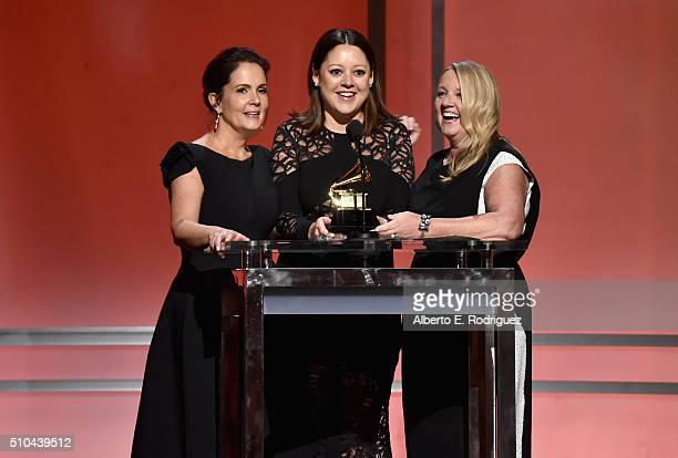 Songwriters Hillary Lindsey Lori McKenna and Liz Rose accept award for Best Country Song for 'Girl Crush' onstage during the GRAMMY PreTelecast at...