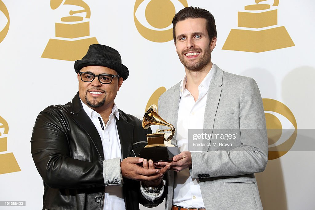 Songwriters Israel Houghton (L) and Micah Massey, winners of the Best Contemporary Christian Music Song Award for 'Your Presence Is Heaven' pose in the press room at the 55th Annual GRAMMY Awards at Staples Center on February 10, 2013 in Los Angeles, California.