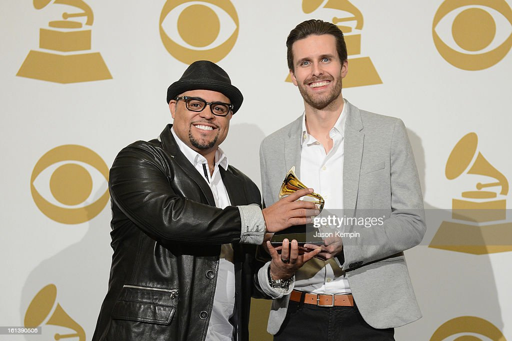 Songwriters Israel Houghton (L) and Micah Massey, winners of the Best Contemporary Christian Music Song Award for 'Your Presence Is Heaven', poses in the press room during the 55th Annual GRAMMY Awards at STAPLES Center on February 10, 2013 in Los Angeles, California.