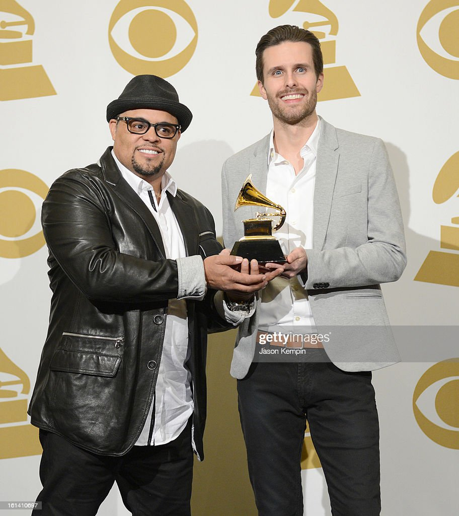 Songwriters Israel Houghton (L) and Micah Massey, winners of the Best Contemporary Christian Music Song Award for 'Your Presence Is Heaven' pose in the press room during the 55th Annual GRAMMY Awards at STAPLES Center on February 10, 2013 in Los Angeles, California.