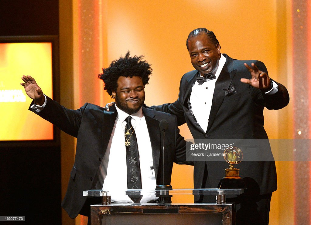 Songwriters James Fauntleroy (L) and Jerome Harmon accept the Best R&B Song award for 'Pusher Love Girl' onstage during the 56th GRAMMY Awards Pre-Telecast Show at Nokia Theatre L.A. Live on January 26, 2014 in Los Angeles, California.