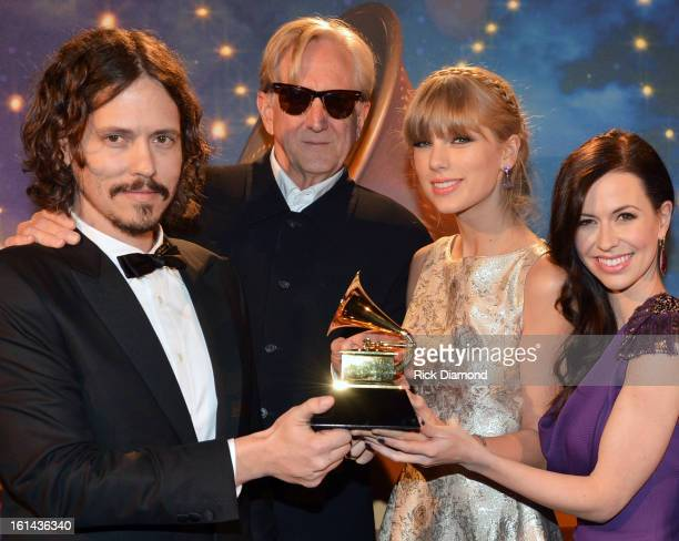 Songwriters John Paul White TBone Burnett Taylor Swift and Joy Williams appear onstage during the 55th Annual GRAMMY Awards PreTelecast at Nokia...