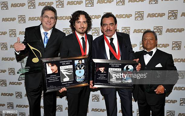 Songwriters Jorge Luis Piloto Tommy Torres Joan Sebastian and composer Armando Manzanero arrive at 18th Annual ASCAP Latin Music Awards at The...