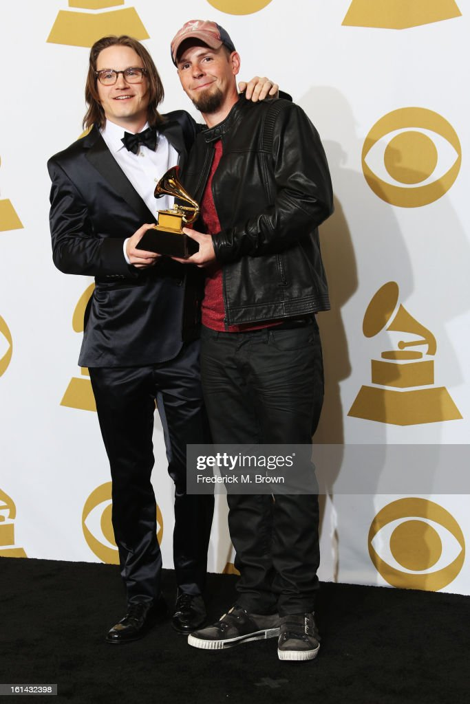 Songwriters <a gi-track='captionPersonalityLinkClicked' href=/galleries/search?phrase=Josh+Kear&family=editorial&specificpeople=4290587 ng-click='$event.stopPropagation()'>Josh Kear</a> and Chris Tomkins, winners Best Country Song for 'Blown Away' by Carrie Underwood, pose in the press room at the 55th Annual GRAMMY Awards at Staples Center on February 10, 2013 in Los Angeles, California.