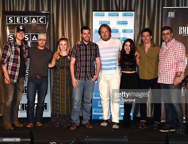 Songwriters Luke Laird Jameson Rodgers Hailey Whitters JP Williams Luke Dick Maggie Chapman Matt Rogers and Barry Dean attend AIMP Songwriters Series...