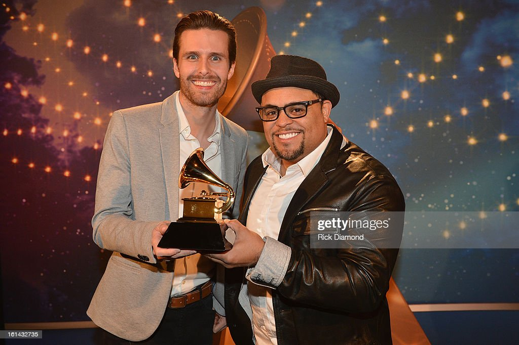Songwriters Micah Massey (L) and Israel Houghton pose during the 55th Annual GRAMMY Awards Pre-Telecast at Nokia Theatre L.A. Live on February 10, 2013 in Los Angeles, California.
