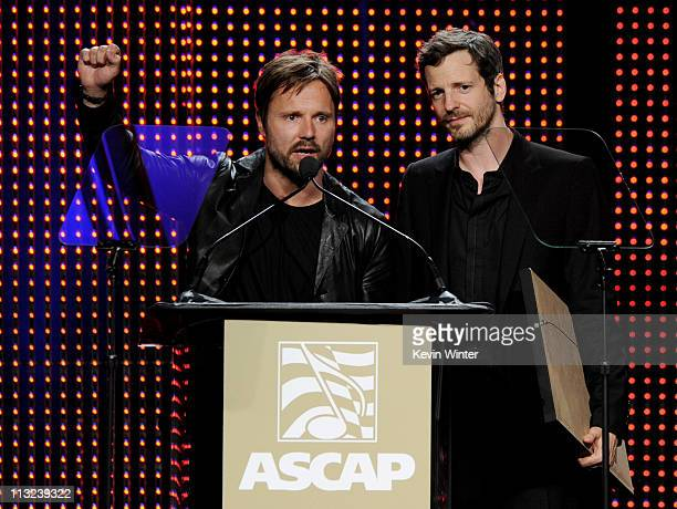Songwriters of the Year Max Martin and Lukasz 'Dr Luke' Gottwald speak onstage at the 28th Annual ASCAP Pop Music Awards at the Kodak Ballroom on...