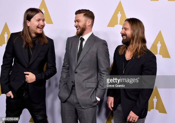 Songwriters Shellback Justin Timberlake and Max Martin attend the 89th Annual Academy Awards Nominee Luncheon at The Beverly Hilton Hotel on February...