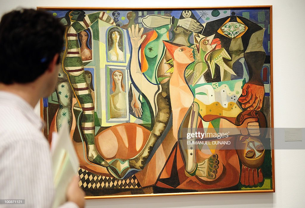 'Sonhos do Carnival' by Eimiliano Di Cavalcanti is on display during a preview of Christie's Latin American Art auctions, May 24, 2010 in New York. Christie's will hold its Latin American Art auctions on May 26 and 27, 2010. AFP PHOTO/Emmanuel Dunand