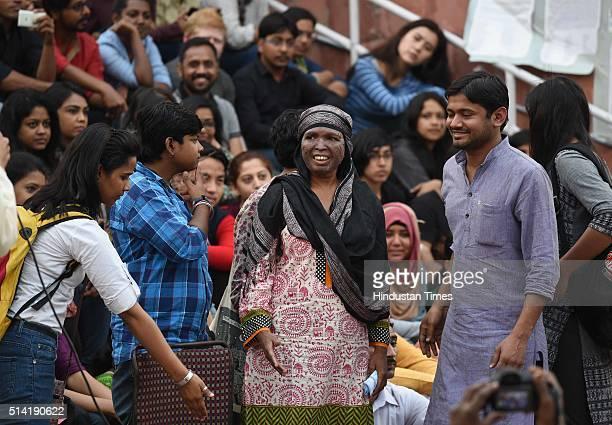 Soni Sori Tribal school teacher turned political activist from South Bastar Chhattisgarh with JNUSU President Kanhaiya Kumar at JNU Campus on March 7...