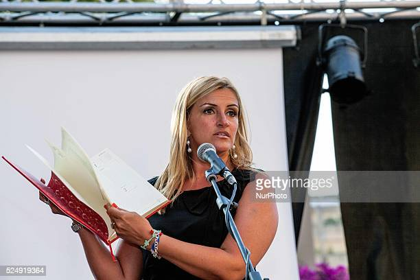 Sonia Alfano shows off a copy of Red Diary stolen on the day of the massacre of Paolo Borsellino which contained various notes thoughts and...